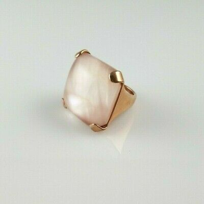 Honora Pink Mother of Pearl Statement Ring Square Cushion Bronze Italy Size 7.5
