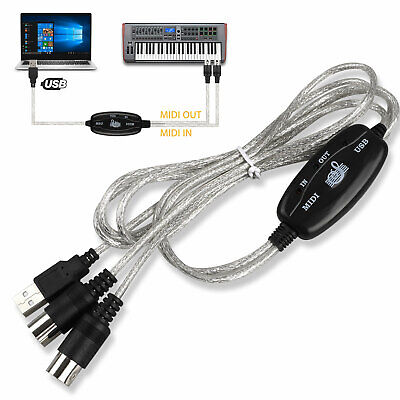 USB IN-OUT MIDI 5Pin Interface Cord Converter PC to Music Keyboard Adapter Cable