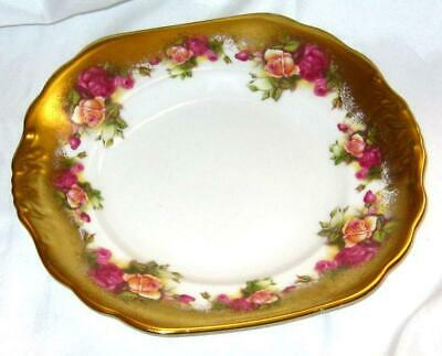 "Vintage Royal Chelsea "" Golden Roses"" Square Cake Plate ~ Pretty!"