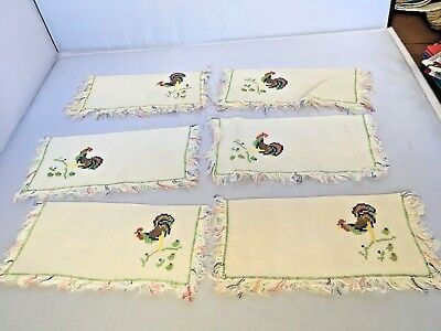 Lot of 6 Vintage Rooster Cocktail Napkins Chickens Fringed Edges Cross Stitch