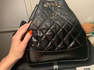 a467b3773432 AUTHENTIC Chanel Gabrielle Small Backpack Bag Black With Patent Ombre Two  Tone