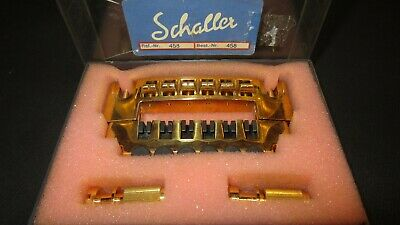 Original Circa 70s/80's Schaller 458 Wraparound Gold Tailpiece & Posts NOS, Box!