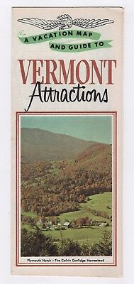 Vacation Map & Guide To Vermont Attractions Vintage Travel Brochure J-192