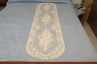 "Ivory Colored Machine Made Lace Table Runner Ovoid w/ Flowers 54"" x 14.75"" M37"