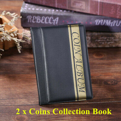 2 Pcs 120 Pockets Coins Collection Album Commemorative Book Storage Collecting