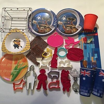 -BULK LOT- 26pc Kitchen Stuff (Cookie Cutters, Plates, Cups, Bottle Opener)