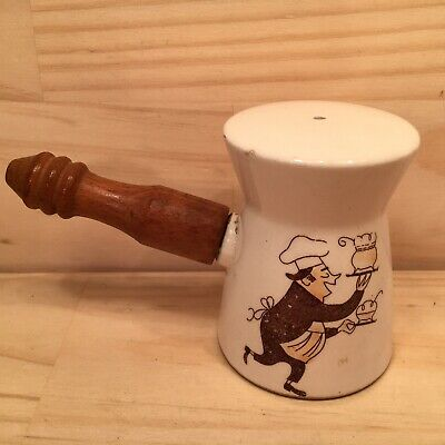 "COMICAL CHEF ""Antique White"" Collectable Novelty Ceramic Salt Pepper Shaker"