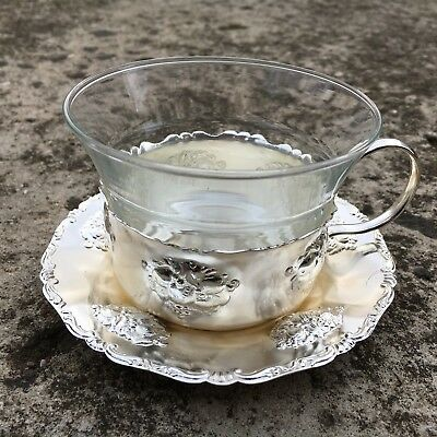 QUIST Lovely Vintage Silverplated Metal Cup & Saucer with Glass Insert (Germany)