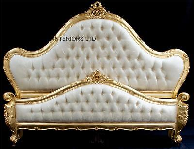Large French Charles Louis Style Ornate Gold Leaf  Bed  King 5 ft Ivory