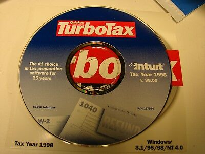 Quicken TurboTax 1998 for Windows 3.1/98/95  Intuit Turbo Tax cd only
