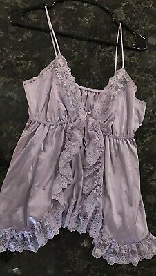 VINTAGE 70s BABYDOLL LINGERIE B ALTMAN SHEER SILKY NYLON FRILLY LACE