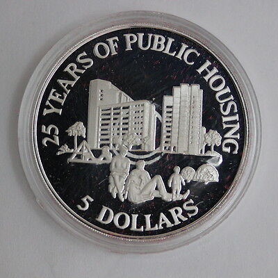 1985 Singapore $5 Silver Proof 25 Years of Public Housing & COA (3172421C)