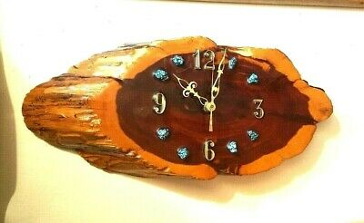 Vintage Cyprus Slab Wood Wall Clock Turquoise Stones Handcrafted Southwest Decor