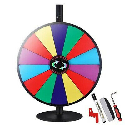 """24"""" Prize Wheel 14 Slots Tabletop Colour Dry Erase Fortune Spinning Game Party"""