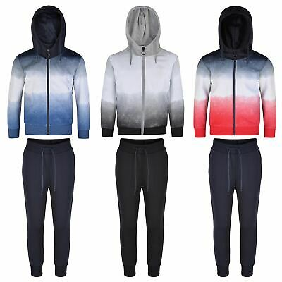 Boys Girls Ombre Tracksuits Kids Hooded Top Jacket Pants Bottoms Trousers 3-16 Y