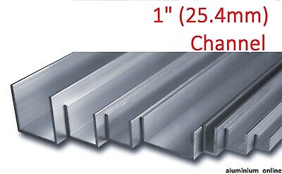 "ALUMINIUM CHANNEL U  PROFILE 1"" (25.4mm), 6 variations, Lengths 100mm - 2500mm"