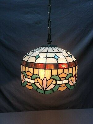 Vtg Leaded Stained Slag Glass Ceiling Light Fixture Chandelier Old Floral 43-19E