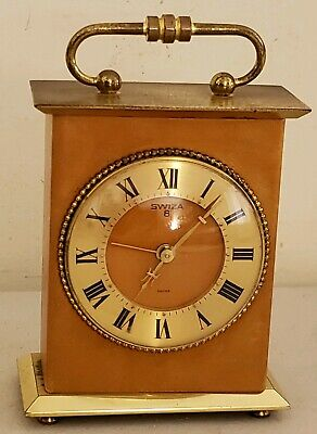 Vintage 1950's SWIZA 8 Swiss Mid Century Mechanical Wind-Up Alarm Carriage Clock