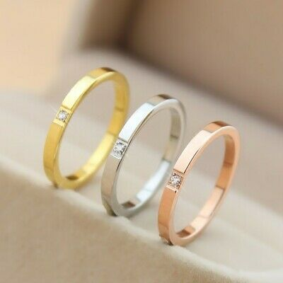 2mm Thin Stackable Ring Stainless Steel Single CZ Wedding Band for Women Girl