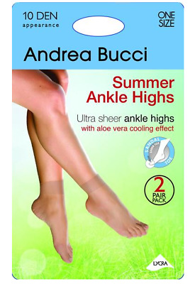 c9f6280d2f6 ANDREA BUCCI 10 Denier Ultra Sheer Summer Ankle Socks With Aloe Vera ...