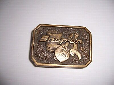 Vintage Snap-On Tools Solid Brass Belt Buckle Advertising Collectible