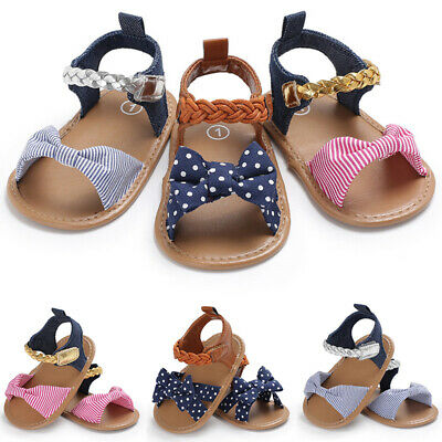 Newborn Baby Summer Sandals Girl Kids Prewalker Crib Pram Soft Sole Flat Shoes