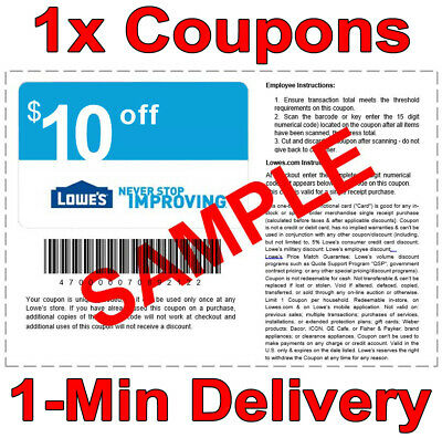 1x Lowes $10 OFF $50 INSTANT Discount Fastest DELIVERY-1COUPON INSTORE/ONLINE