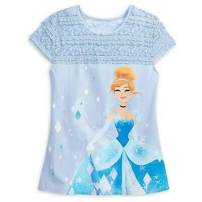 Disney Cinderella Princess Mystique Fashion Top Shirt with Lace Womens Blue XS