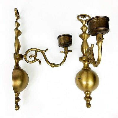"Antique Brass Candle Wall Sconce 12"" Pair Colonial Style"