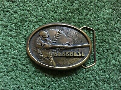 Vintage 1978 Indiana Metal Craft Baseball Solid Brass Belt Buckle
