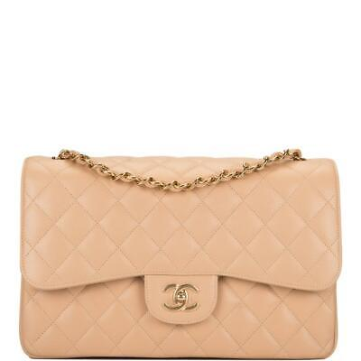 02ea9149276e CHANEL BEIGE QUILTED Caviar Jumbo Classic Double Flap Bag ...