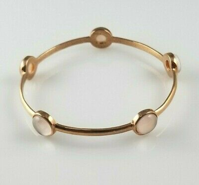 Bangle Pink Mother of Pearl Honora Bracelet Bronze Rose Tone Italy Round Stones