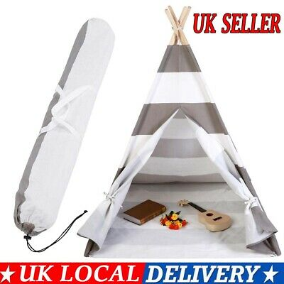Large Cotton Canvas Kids Teepee Tent Children Wigwam Indoor Outdoor Play House