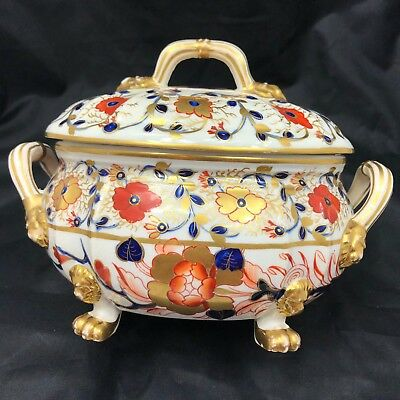 Royal Crown Derby Imari Sauce Tureen with Lid Floral Gold Lion Design c1806-1825
