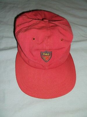 VTG POLO strapback cap Made USA tartan crest emblem hat red crimson Ralph Lauren