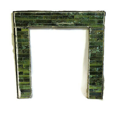 Antique Set Fireplace Surround Face Tile Mottled Majolica Green W/ Ivory Cloud