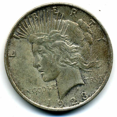 1923 P AU Peace 90%SILVER DOLLAR ABOUT UNCIRCULATED LADY LIBERTY U.S$1 COIN#3563