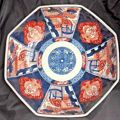Imari Bowl Octagon Shaped Cobalt Blue Lotus Flower & Red Bat Design 9 1/2""