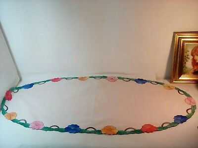 Large Vintage Table Runner - Hand Embroidered & Applique Table Centre