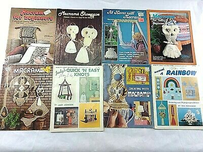 Vintage 1970s Macrame Books Lot of 24 Patterns Owls Plant Hangers Jewelry Crafts