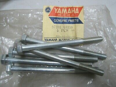 YAMAHA NOS 8mm BOLTS (6) 97101-08110  8 + 110  13mm Dome Head RD125 YL1 IT AT CT