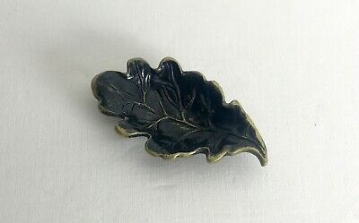 Vintage Oak Leaf Shaped Brass Pin Dish Black Paint Made in England