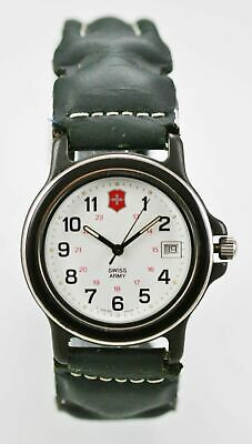 Swiss Army Watch Mens 24hr Date Stainless Black Leather Green 166ft White Quartz