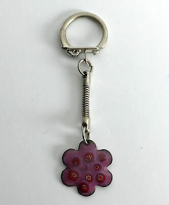 Vintage Millefiori Flower Essex-Made Enamelled Metal Hand Made Unique Keyring