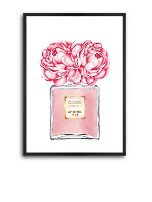 Pink Chanel Perfume Bottle Wall Art Poster - Chanel Wall Art, Perfume Art Print