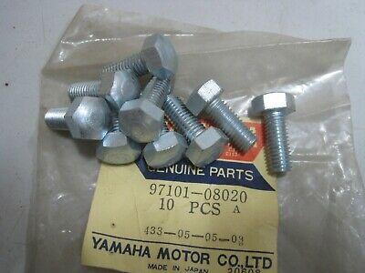 YAMAHA NOS 8mm BOLTS (9) 97101-08020  8 + 20  13mm Dome Head RD DT TD XS TZ YR1