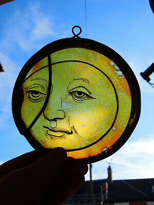 Interesting Stained Glass Moon Face Medieval Victorian Decorative