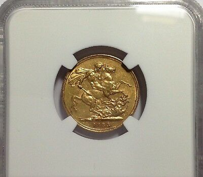 1883 M Sovereign - Victoria Austalian St. George, NGC AU 55, Gold - scarce