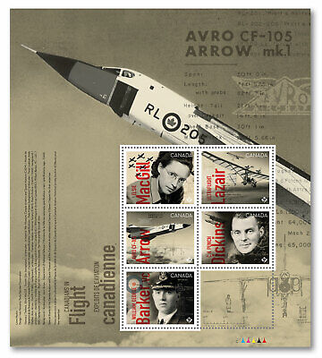 2019 Canadians In Flight Pane Of 5 Stamps Mnh Avro Cf-105 Arrow Sheet