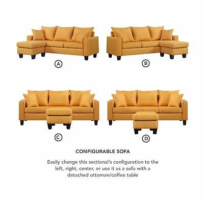 MODERN YELLOW SECTIONAL Linen Fabric Small Space Sofa with ...